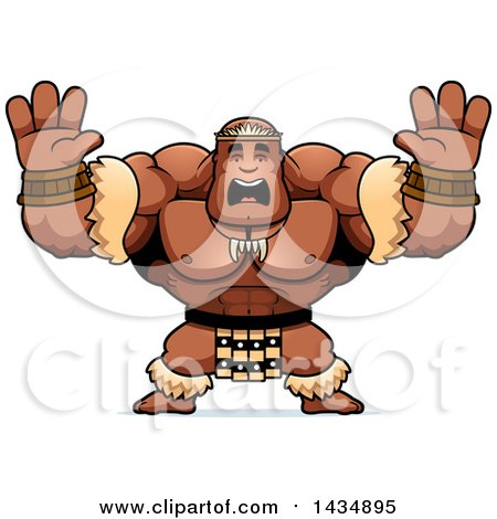 Clipart of a Cartoon Scared Buff Muscular Zulu Warrior Holding His Hands up - Royalty Free Vector Illustration by Cory Thoman