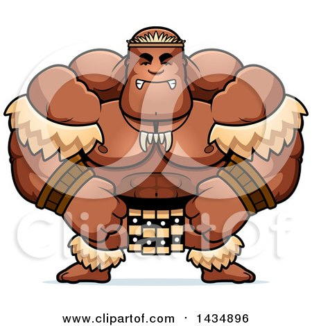 Clipart of a Cartoon Mad Buff Muscular Zulu Warrior - Royalty Free Vector Illustration by Cory Thoman
