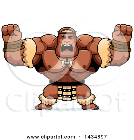 Clipart of a Cartoon Buff Muscular Zulu Warrior Holding His Fists up in Balls of Rage - Royalty Free Vector Illustration by Cory Thoman