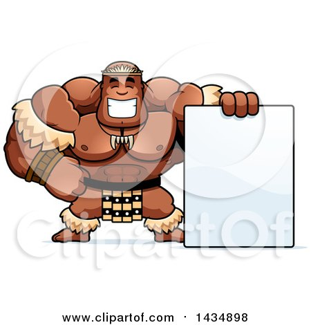 Clipart of a Cartoon Buff Muscular Zulu Warrior with a Blank Sign - Royalty Free Vector Illustration by Cory Thoman