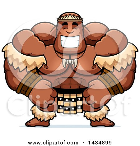 Clipart of a Cartoon Happy Buff Muscular Zulu Warrior - Royalty Free Vector Illustration by Cory Thoman