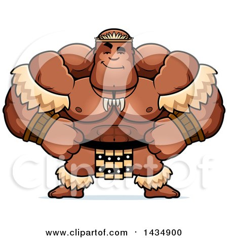 Clipart of a Cartoon Smug Buff Muscular Zulu Warrior - Royalty Free Vector Illustration by Cory Thoman