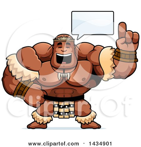 Clipart of a Cartoon Buff Muscular Zulu Warrior Holding up a Finger and Talking - Royalty Free Vector Illustration by Cory Thoman