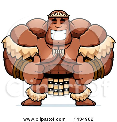 Clipart of a Cartoon Buff Muscular Zulu Warrior Giving Two Thumbs up - Royalty Free Vector Illustration by Cory Thoman