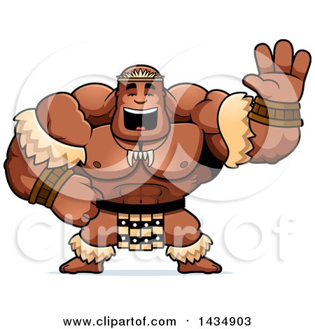 Clipart of a Cartoon Buff Muscular Zulu Warrior Waving - Royalty Free Vector Illustration by Cory Thoman