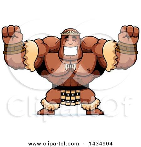 Clipart of a Cartoon Cheering Buff Muscular Zulu Warrior - Royalty Free Vector Illustration by Cory Thoman