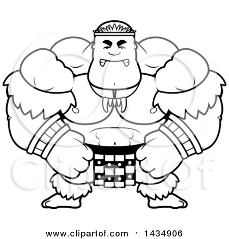 Clipart of a Cartoon Black and White Lineart Mad Buff Muscular Zulu Warrior - Royalty Free Vector Illustration by Cory Thoman