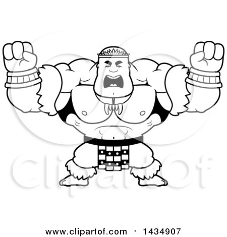 Clipart of a Cartoon Black and White Lineart Buff Muscular Zulu Warrior Holding His Fists up in Balls of Rage - Royalty Free Vector Illustration by Cory Thoman
