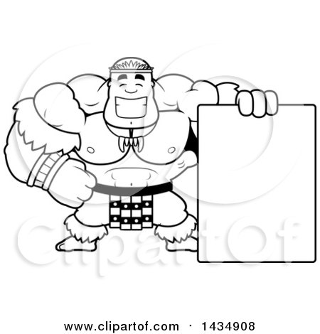 Clipart of a Cartoon Black and White Lineart Buff Muscular Zulu Warrior with a Blank Sign - Royalty Free Vector Illustration by Cory Thoman