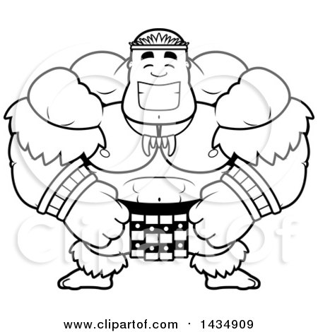 Clipart of a Cartoon Black and White Lineart Happy Buff Muscular Zulu Warrior - Royalty Free Vector Illustration by Cory Thoman