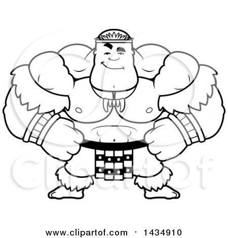 Clipart of a Cartoon Black and White Lineart Smug Buff Muscular Zulu Warrior - Royalty Free Vector Illustration by Cory Thoman