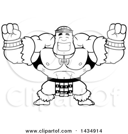 Clipart of a Cartoon Black and White Lineart Cheering Buff Muscular Zulu Warrior - Royalty Free Vector Illustration by Cory Thoman