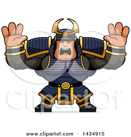 Clipart of a Cartoon Scared Buff Muscular Samurai Warrior Holding His Hands up - Royalty Free Vector Illustration by Cory Thoman