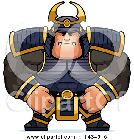 Clipart of a Cartoon Mad Buff Muscular Samurai Warrior - Royalty Free Vector Illustration by Cory Thoman