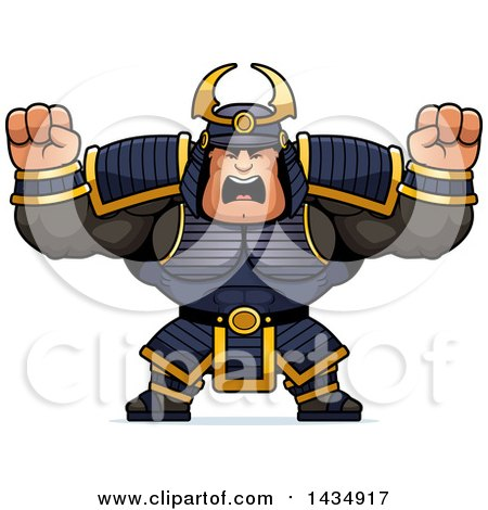 Clipart of a Cartoon Buff Muscular Samurai Warrior Holding His Fists up in Balls of Rage - Royalty Free Vector Illustration by Cory Thoman