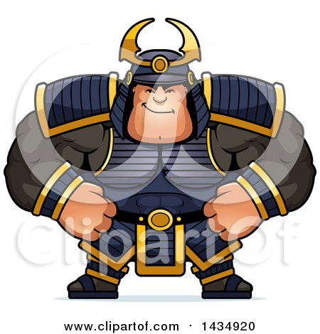 Clipart of a Cartoon Smug Buff Muscular Samurai Warrior - Royalty Free Vector Illustration by Cory Thoman