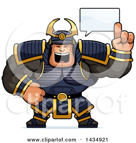 Clipart of a Cartoon Buff Muscular Samurai Warrior Holding up a Finger and Talking - Royalty Free Vector Illustration by Cory Thoman