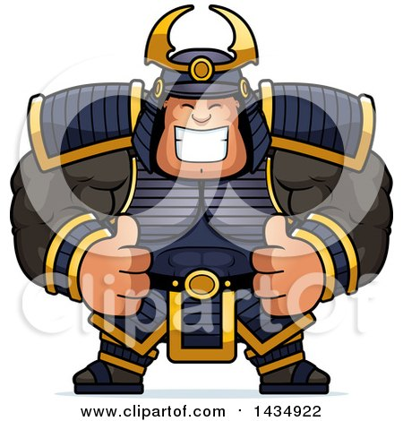 Clipart of a Cartoon Buff Muscular Samurai Warrior Giving Two Thumbs up - Royalty Free Vector Illustration by Cory Thoman