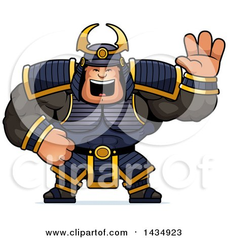 Clipart of a Cartoon Buff Muscular Samurai Warrior Waving - Royalty Free Vector Illustration by Cory Thoman