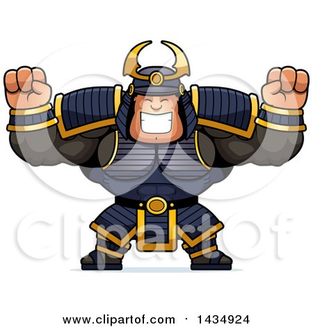Clipart of a Cartoon Cheering Buff Muscular Samurai Warrior - Royalty Free Vector Illustration by Cory Thoman
