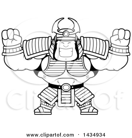 Clipart of a Cartoon Black and White Lineart Cheering Buff Muscular Samurai Warrior - Royalty Free Vector Illustration by Cory Thoman