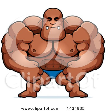 Clipart of a Cartoon Mad Buff Muscular Black Bodybuilder Flexing in a Posing Trunk - Royalty Free Vector Illustration by Cory Thoman