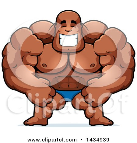 Clipart of a Cartoon Happy Buff Muscular Black Bodybuilder in a Posing Trunk - Royalty Free Vector Illustration by Cory Thoman