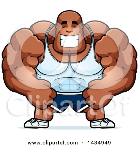 Clipart of a Cartoon Happy Buff Muscular Black Bodybuilder - Royalty Free Vector Illustration by Cory Thoman