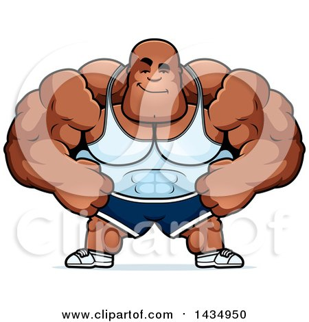 Clipart of a Cartoon Smug Buff Muscular Black Bodybuilder - Royalty Free Vector Illustration by Cory Thoman