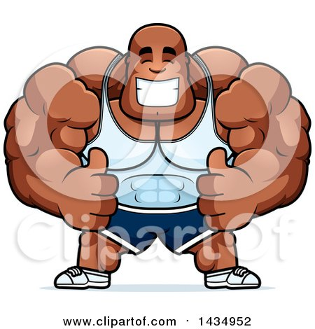 Cartoon clipart of a black and white strong man holding up - Cartoon body builder ...