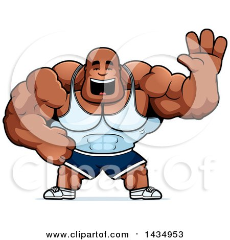 Clipart of a Cartoon Buff Muscular Black Bodybuilder Waving - Royalty Free Vector Illustration by Cory Thoman