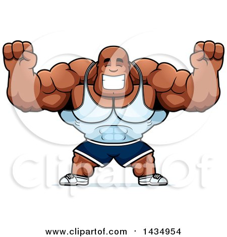Clipart of a Cartoon Cheering Buff Muscular Black Bodybuilder - Royalty Free Vector Illustration by Cory Thoman