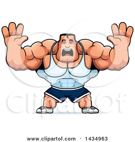 Clipart of a Cartoon Buff Beefcake Muscular Bodybuilder Holding His Hands up and Screaming - Royalty Free Vector Illustration by Cory Thoman