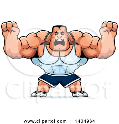 Clipart of a Cartoon Buff Beefcake Muscular Bodybuilder Holding up Fists in Balls of Rage - Royalty Free Vector Illustration by Cory Thoman