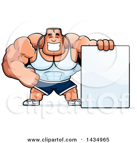 Clipart of a Cartoon Buff Beefcake Muscular Bodybuilder with a Blank Sign - Royalty Free Vector Illustration by Cory Thoman