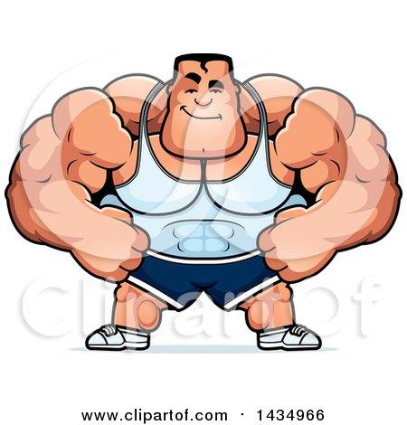 Clipart of a Cartoon Smug Buff Beefcake Muscular Bodybuilder - Royalty Free Vector Illustration by Cory Thoman