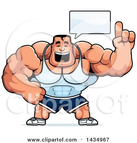 Clipart of a Cartoon Buff Beefcake Muscular Bodybuilder Talking - Royalty Free Vector Illustration by Cory Thoman