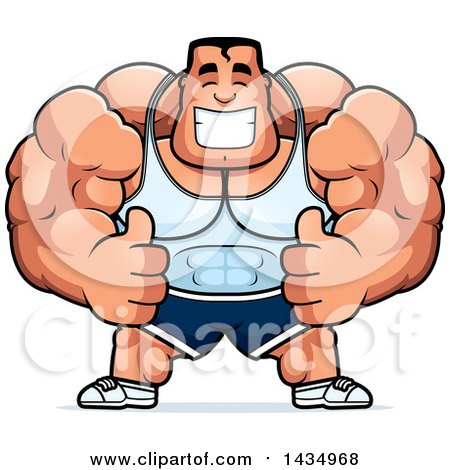 Clipart of a Cartoon Buff Beefcake Muscular Bodybuilder Giving Two Thumbs up - Royalty Free Vector Illustration by Cory Thoman