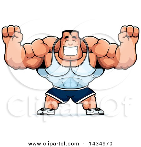 Clipart of a Cartoon Buff Beefcake Muscular Bodybuilder Cheering - Royalty Free Vector Illustration by Cory Thoman
