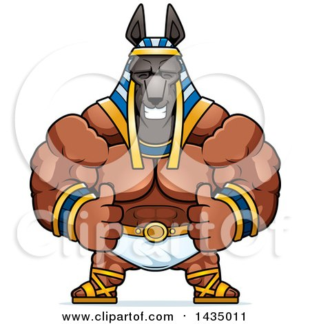 Clipart of a Cartoon Buff Muscular Anubis Giving Two Thumbs up - Royalty Free Vector Illustration by Cory Thoman