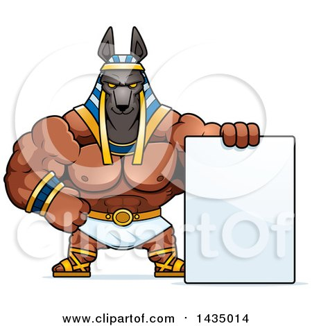Clipart of a Cartoon Buff Muscular Anubis with a Blank Sign - Royalty Free Vector Illustration by Cory Thoman