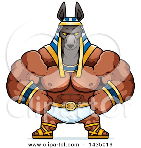 Clipart of a Cartoon Smug Buff Muscular Anubis - Royalty Free Vector Illustration by Cory Thoman