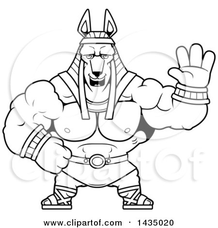 Clipart of a Cartoon Black and White Lineart Buff Muscular Anubis Waving - Royalty Free Vector Illustration by Cory Thoman