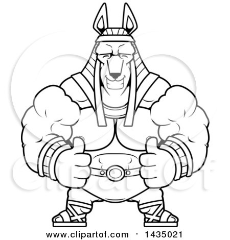 Clipart of a Cartoon Black and White Lineart Buff Muscular Anubis Giving Two Thumbs up - Royalty Free Vector Illustration by Cory Thoman