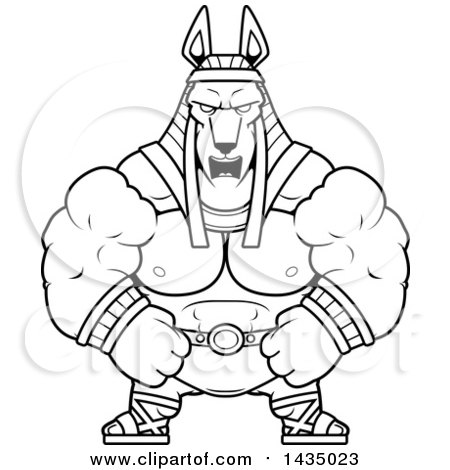 Clipart of a Cartoon Black and White Lineart Mad Buff Muscular Anubis - Royalty Free Vector Illustration by Cory Thoman