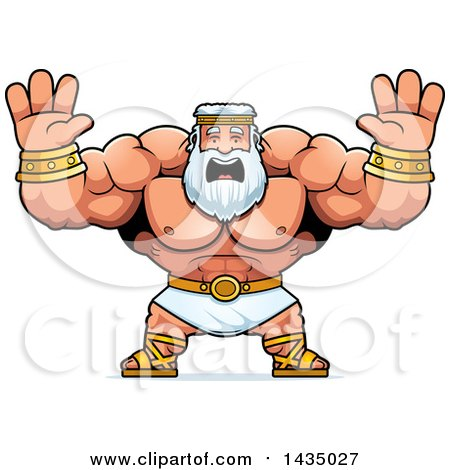 Clipart of a Cartoon Buff Muscular Zeus Holding His Hands up and Screaming - Royalty Free Vector Illustration by Cory Thoman