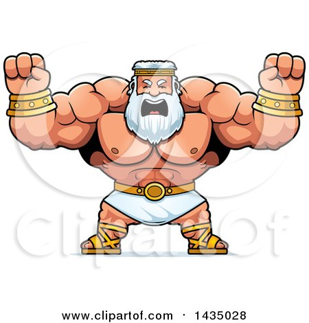 Clipart of a Cartoon Buff Muscular Zeus Holding His Fists in Balls of Rage - Royalty Free Vector Illustration by Cory Thoman