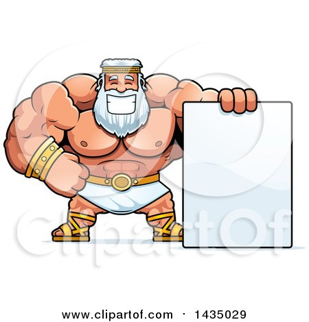 Clipart of a Cartoon Buff Muscular Zeus with a Blank Sign - Royalty Free Vector Illustration by Cory Thoman