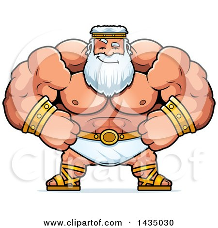 Clipart of a Cartoon Smug Buff Muscular Zeus - Royalty Free Vector Illustration by Cory Thoman