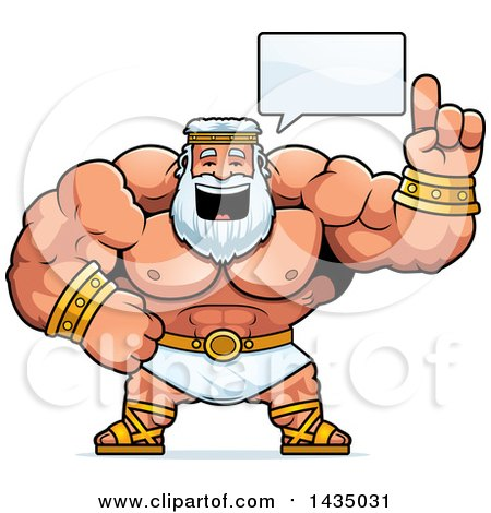 Clipart of a Cartoon Buff Muscular Zeus Talking - Royalty Free Vector Illustration by Cory Thoman